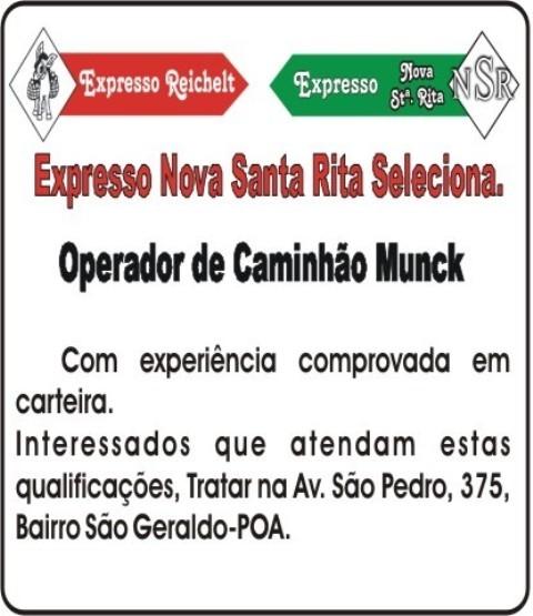 Expresso Nova Santa Rita Seleciona Operador de Caminhão Munck